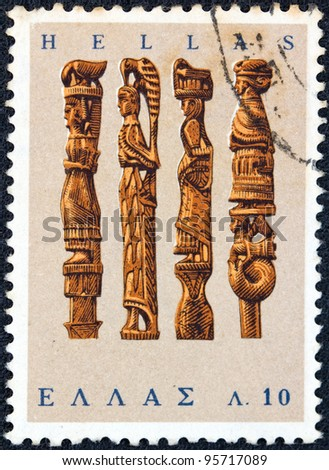 "GREECE - CIRCA 1966: A stamp printed in Greece from the ""Greek Popular Art"" issue shows Knitting-needle boxes, circa 1966."