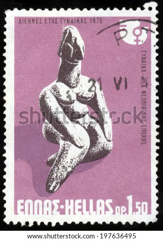 "GREECE - CIRCA 1975: A stamp printed in Greece from the ""International Women's Year"" issue shows Neolithic Goddess, circa 1975.  - stock photo"