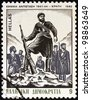 "GREECE - CIRCA 1982: A stamp printed in Greece from the ""National Resistance, 1941-44"" issue shows the Onset of the Struggle in Crete (P. Gravalos), circa 1982. - stock photo"