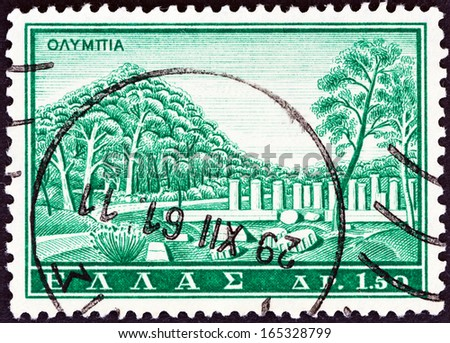 "GREECE - CIRCA 1961: A stamp printed in Greece from the ""Tourist Publicity"" issue shows ancient Olympia, circa 1961.  - stock photo"