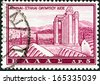 """GREECE - CIRCA 1961: A stamp printed in Greece from the """"Tourist Publicity"""" issue shows Temple of Olympian Zeus, Athens, circa 1961.  - stock photo"""