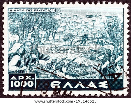 "GREECE - CIRCA 1946: A stamp printed in Greece from the ""Victory. War Scenes"" issue shows Battle of Crete, circa 1946.  - stock photo"