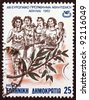 "GREECE - CIRCA 1982: A stamp printed in Greece from the ""XIII European athletics championship' issue shows a group of women runners, circa 1982. - stock photo"