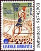 GREECE - CIRCA 1987: A stamp printed in Greece issued for the 25th European Men's Basketball Championship, Athens, shows a basketball player shooting, circa 1987. - stock photo
