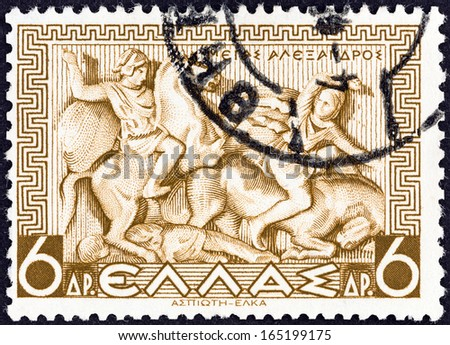GREECE - CIRCA 1937: A stamp printed in Greece shows Alexander the Great at Battle of Issus, circa 1937.  - stock photo