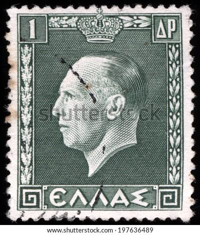 GREECE - CIRCA 1937: a stamp printed in the Greece shows George II, King of Greece, circa 1937  - stock photo