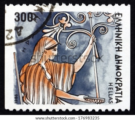 GREECE - CIRCA 1986: a stamp printed in the Greece shows Hera, Greek Goddess of Women and Marriage, Wife and One of Three Sisters of Zeus, Ancient Greek Religion, circa 1986 - stock photo