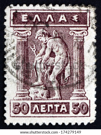 GREECE - CIRCA 1911: a stamp printed in the Greece shows Hermes Donning Sandals, Hermes is an Olympian God in Greek Mythology, circa 1911 - stock photo