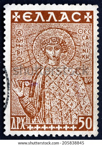 GREECE - CIRCA 1948: a stamp printed in the Greece shows St. Demetrius of Thessaloniki, is a Christian Martyr, one of the Most Important Orthodox Military Saints, circa 1948 - stock photo