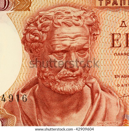 "GREECE - CIRCA 1967: Democritus on 100 Drachmai 1967 Banknote from Greece. Ancient Greek philosopher. The most influental before the socratic era. Also considered as the ""father of modern science""."
