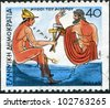 GREECE - CIRCA 1987: Postage stamps printed in Greece, shows Aesop's fables, Woodcutter and Hermes, circa 1987 - stock photo
