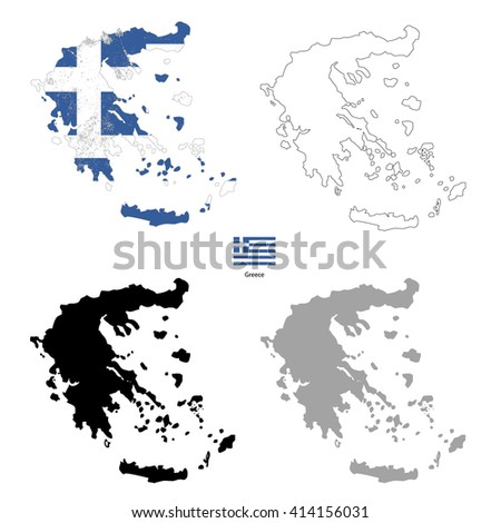 Greece country black silhouette and with flag on background, isolated on white - stock photo