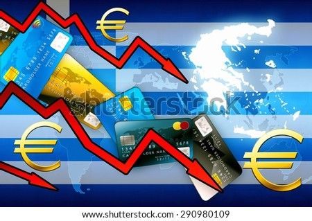 Greece crisis concept background - red arrows euro currency credit cards illustration - stock photo