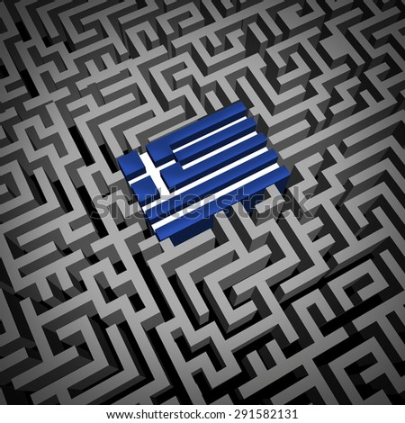 Greece crisis or Greek debt crisis and austerity management concept as the blue and white flag inside a complicated maze or labyrinth as an Athens financial metaphor for European economic issues. - stock photo