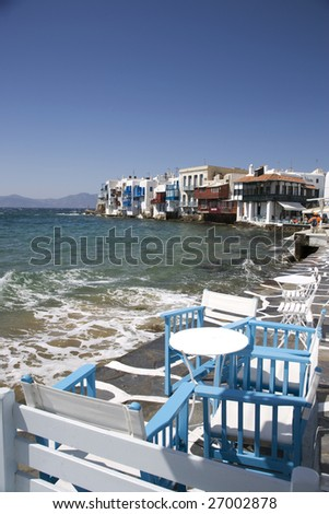 Greece. Cyclades Islands. Mykonos. Chora. The Little Venice. - stock photo