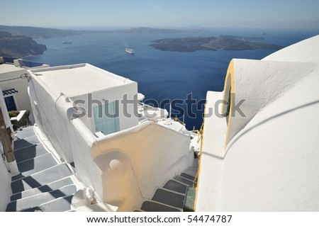 Greece, Cyclades, Santorini Island, Fira - stock photo