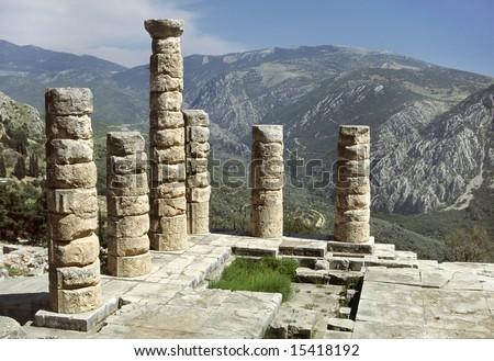 Greece. Delphi. The Temple of Apollo - a doric colonnade - stock photo
