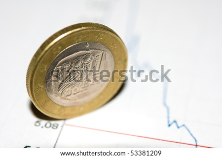 Greece euro coin on a crashing chart background - stock photo