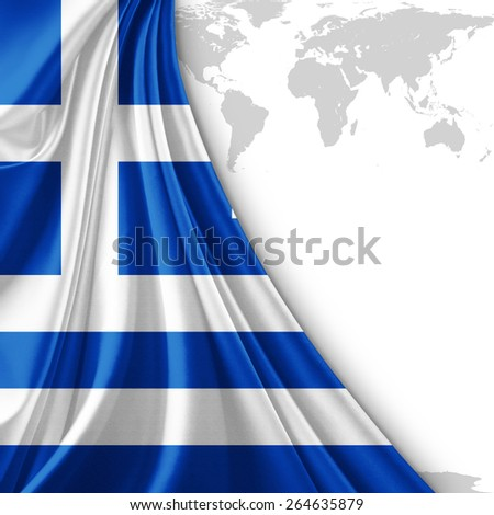 Greece flag and world map background - stock photo