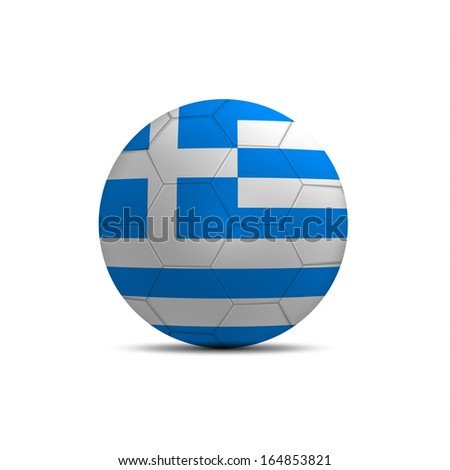 Greece flag ball isolated on white background