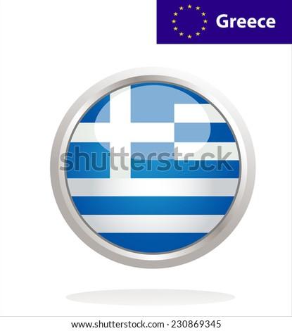 Greece flag button - stock photo