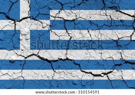 Greece flag. Grunge ground texture. - stock photo