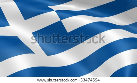 Greece flag in the wind. Part of a series. - stock photo