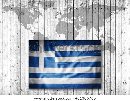 Greece flag of grunge fabric,world map and wood background-3D illustration