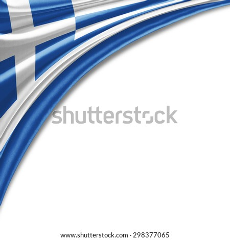 Greece flag of silk with copyspace for your text or images and white background - stock photo