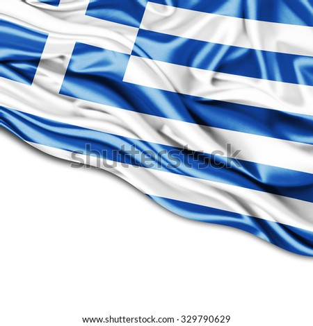 Greece  flag of silk with copyspace for your text or images and white background