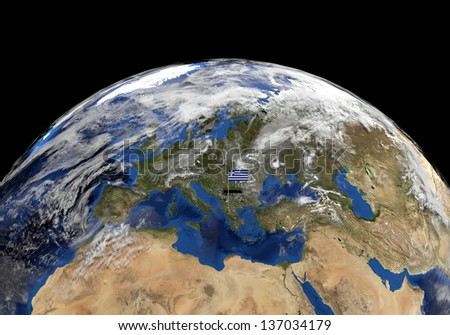 Greece flag on pole on earth globe illustration - Elements of this image furnished by NASA - stock photo