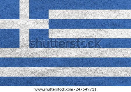 Greece flag on the white paper  - stock photo
