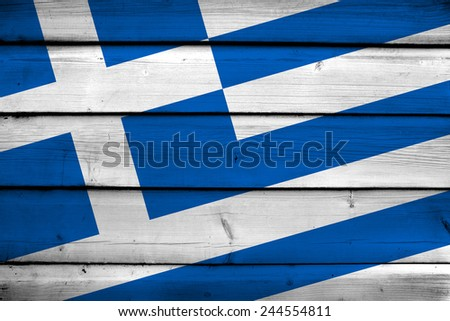 Greece Flag on wood background - stock photo