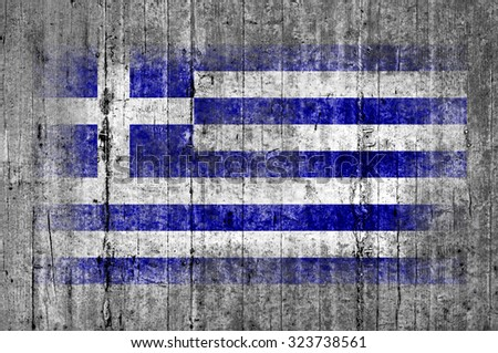 Greece flag painted on background texture gray concrete - stock photo