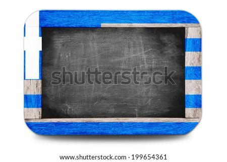 Greece Flag soccer 2014 framed of Small chalkboard - stock photo