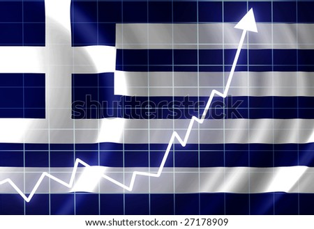 Greece flag waving in the wind: growth