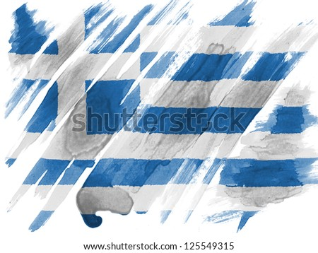 Greece. Greek flag  painted with watercolor on paper