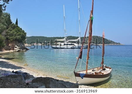 Greece,island Ithaki-view of the beach near Kioni