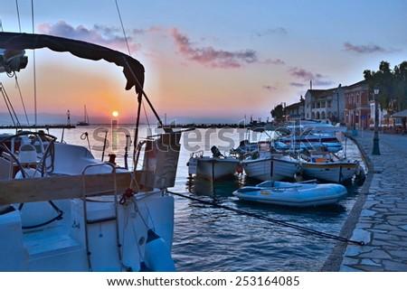 Greece,island Paxos-sunrise in the harbor Gaios - stock photo