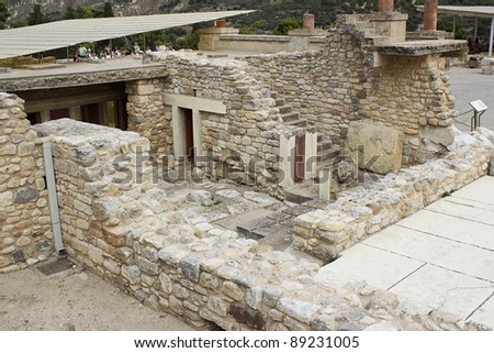 Greece Knossos Palace, is the largest Bronze Age archaeological site on Crete and the ceremonial and political centre of the Minoan civilization and culture. - stock photo
