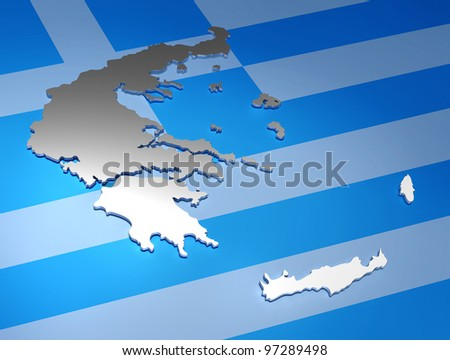 greece map / 3d render - stock photo