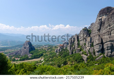 Greece, Meteors, beautiful view of the valley of Thessaly - stock photo