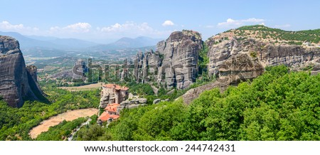 Greece, Meteors, panoramic view from the plateau to the valley of Thessaly in bright natural sunlight day - stock photo