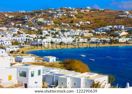 Greece Mykonos,Agia Anna close view from above Mykonos Island Cyclades greece - stock photo