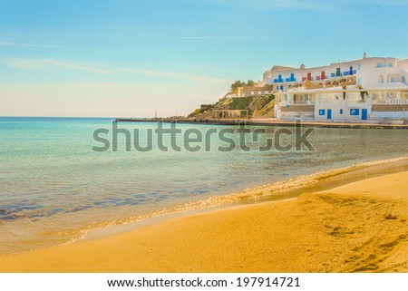 Greece Mykonos island in Cyclades panoramic of a sandy beach view - stock photo