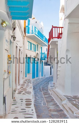 Greece Mykonos narrow walk path in main capitol - stock photo