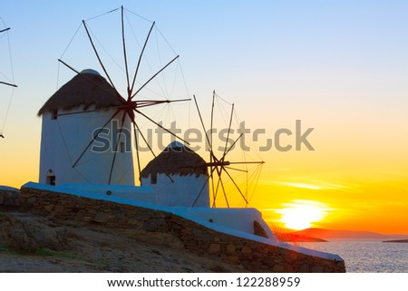 Greece Mykonos Sunset,Windmills sunset Mykonos Island Greece Cyclades - stock photo