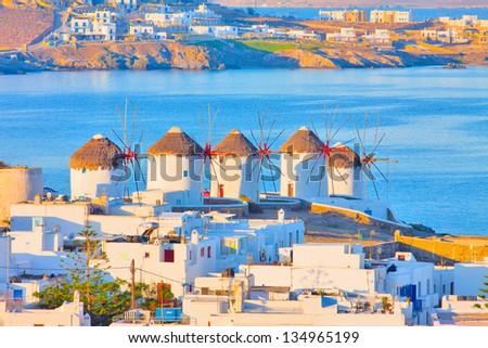 Greece Mykonos windmills closeup - stock photo