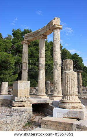 Greece Olympia ancient ruins of the important Philippeion in Olympia birthplace of the olympic games - UNESCO world heritage site - stock photo