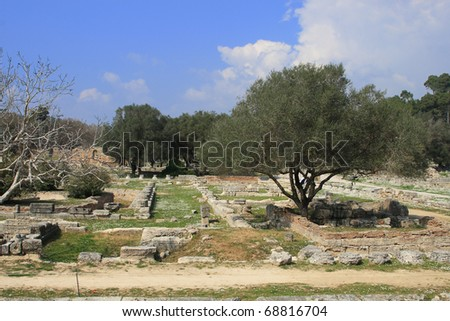 Greece Olympia Ruins of Olympia origin of the Olympic games - stock photo